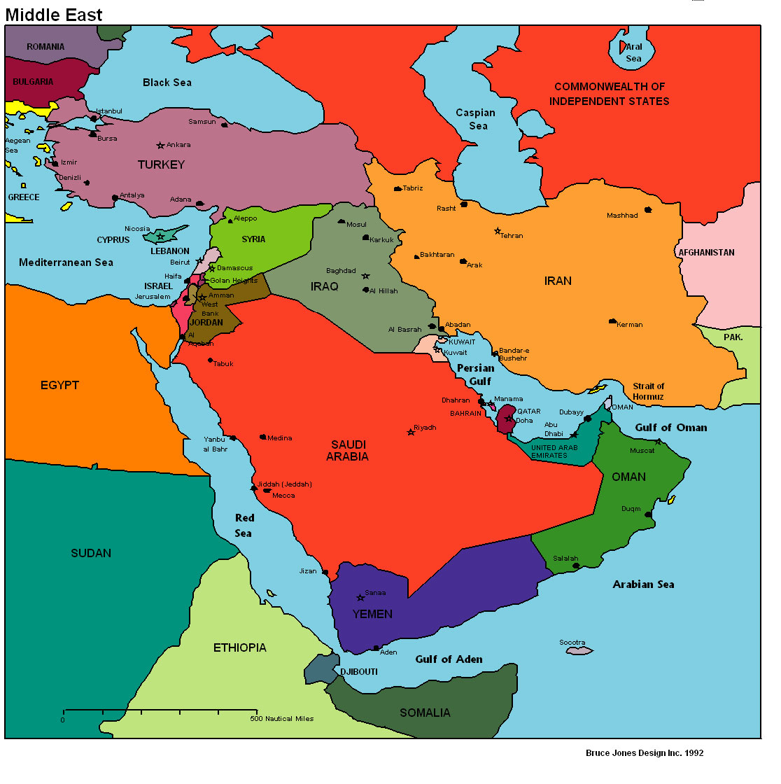 Middle East Physical Map Quiz